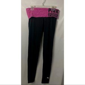 Pink Victoria's Secret Black Yoga Pants Logo XS